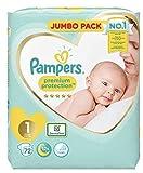 Pampers - Pañal para bebé recién nacido, tamaño 1, protección premium, paquete gigante, 2 x 72 = 144 pañales diseñados especialmente para tu bebé piel delicada