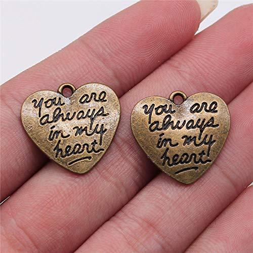 WANM Colgante 10 Uds 20X21Mm Colgantes Que Siempre Estás En Mi Corazón Colgantes De Letras Grabados Hechos A Mano Accesorios De Joyería De Bricolaje