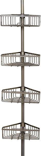 Zenna Home Rust Resistant Tension Corner Pole Caddy Satin Nickel