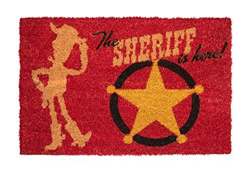 Felpudo Disney Toy Story, The Sheriff is here - Felpudo entrada casa antideslizante 40 x 60 cm - Alfombra entrada casa exterior Disney, Fabricado en fibra de coco - Productos con licencia oficial