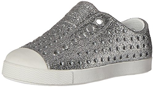Native Kids Girls' Jefferson Bling Child-K Slip-On,Silver Bling Glitter/Shell White,C11 M US Toddler