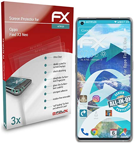 atFolix Schutzfolie kompatibel mit Oppo Find X3 Neo Folie, ultraklare & Flexible FX Bildschirmschutzfolie (3X)
