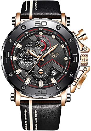 QHG Relojes para Hombre Cronógrafo de Deportes a Prueba de Agua Reloj de Cuarzo analógico de Moda de Lujo de Cuero Militar de Lujo. (Color : Gold Black)