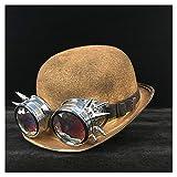 LHZUS Sombreros Steampunk Sombrero para mujer y hombre, steampunk, gafas de equipo, sombrero de fedora jazz sombrero endoscopio (color: oro negro, tamaño: 57-58 cm)