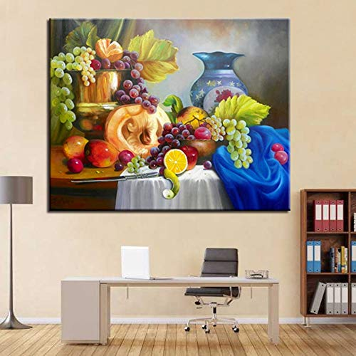 Ölgemälde Kits Färbung Farbe Obst und Porzellan Rahmen Modern Home Decorative Modulare Wandkunst Bild 40x50cm