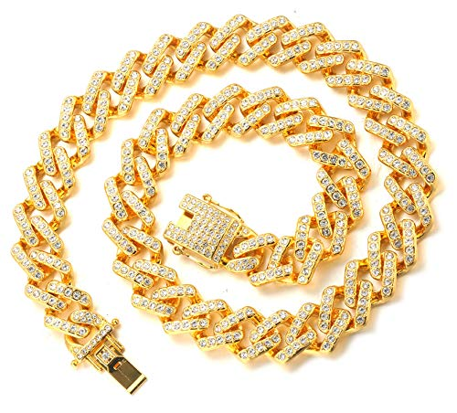 Halukakah Goldkette Herren Iced Out,18 Karat Echt Gold Vergoldete Männer Choker Kette,Goldenes,Miami Blitzkette,45cm,Geschenk für Mann