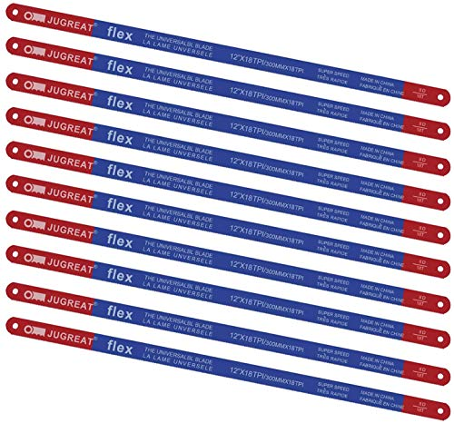Hacksaw Replacement Blades BI-Metal (10 Pack) High Speed Steel Grounded Teeth