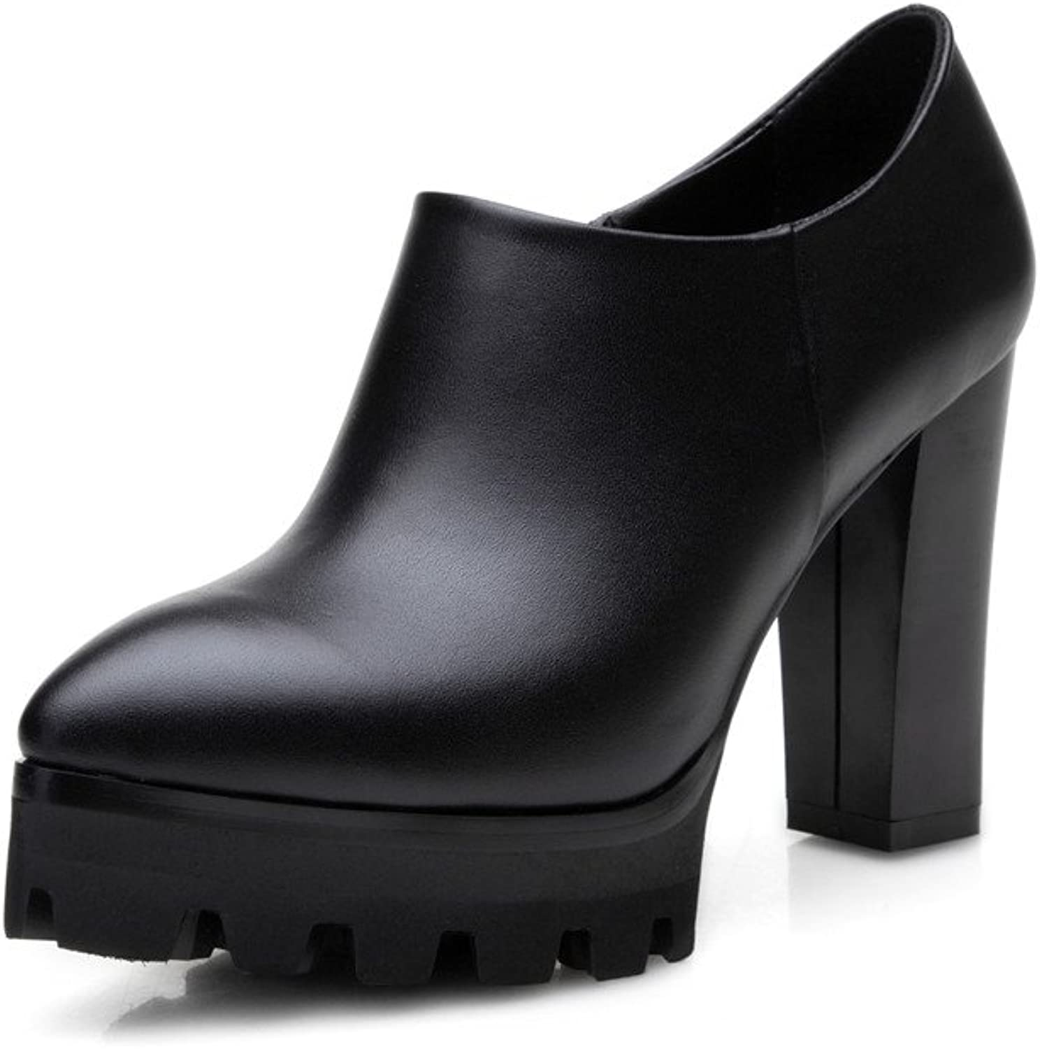 Nine Seven Genuine Leather Women's Chunky Heel Pointed Toe Platform Handmade Ankle Boot