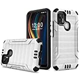 AmeriCase   Coolpad SUVA (CP3669AANB)   Phone Case [Brushed] Shockproof Protective Defender Cover for Boost Mobile Coolpad SUVA (Silver)