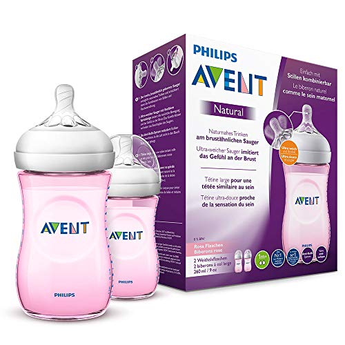 Philips Avent Natural Flasche SCF034/27, 260 ml, naturnahes Trinkverhalten, Anti-Kolik-System, rosa, 2er Pack