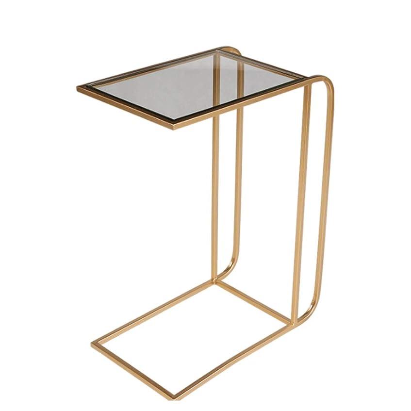 ピストル決定するはいエンドテーブル、テレビトレイ、ラップトップテーブル、アクセントテーブル、ソファテーブルメタルC型スモールテーブルガラステーブルトップにも使用されるベッドサイドテーブル (色 : ゴールド)