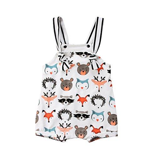 Carolilly Mono Pantalón Corto Peto Overalls Pantalón Ajustable para Niñas Conjunto Traje Bebé Recién Nacido sin Mangas con Dibujos Animales
