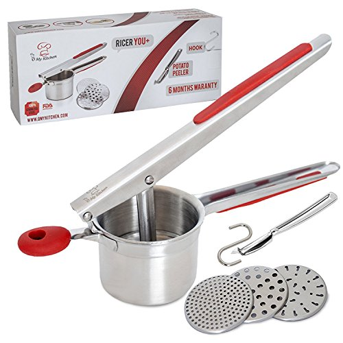 Potato Ricer And Masher 100% Stainless Steel - Vegetables Peeler + Hook - Set In Red Color – Perfect Gifting Idea On All Occasions