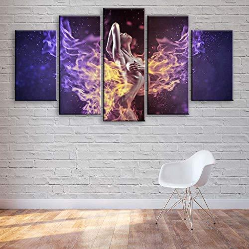 VYQDTNR 5 Piezas Arte de la Pared Colorido Ángel de Fuego Cuadros para la Oficina Sala de Estar Dormitorio Decoración, Regalos Creativos, Regalos de Cumpleaños.
