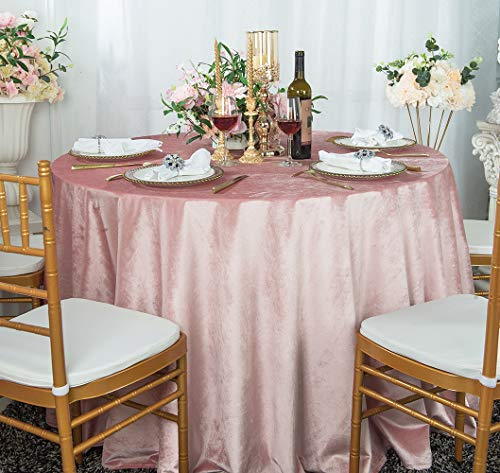 Wedding Linens Inc. 108' Seamless Italian Velvet Tablecloths for Restaurant Kitchen Dining Wedding Party Banquet Events - Blush Pink