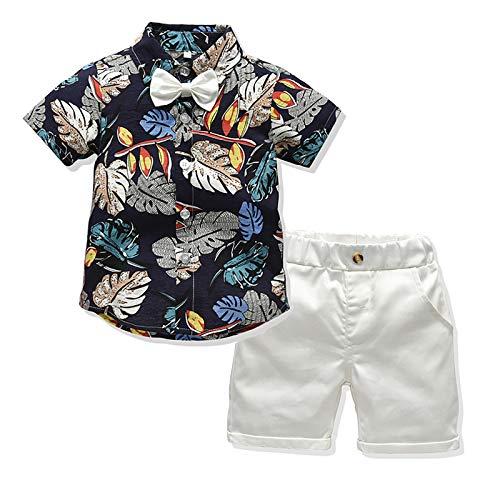 I3CKIZCE Conjunto de ropa de 2 piezas para bebé y niño, de manga corta, estilo bohemio, con corbata + pantalones cortos rojos, para verano, para 1 – 5 años azul marino 3-4 Años