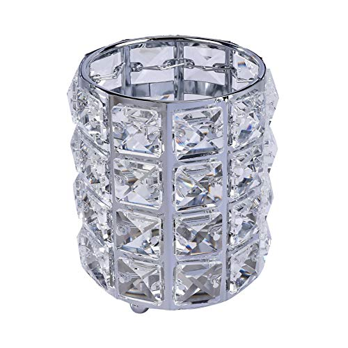 Make Up Pinsel Aufbewahrung aus Kristall, Bürstenhalter Kosmetik Organizer, Perlen Kerzenhaltern Pen Bleistift Cup Lagerung Organizer Container für Kommode,Bad (Silber)
