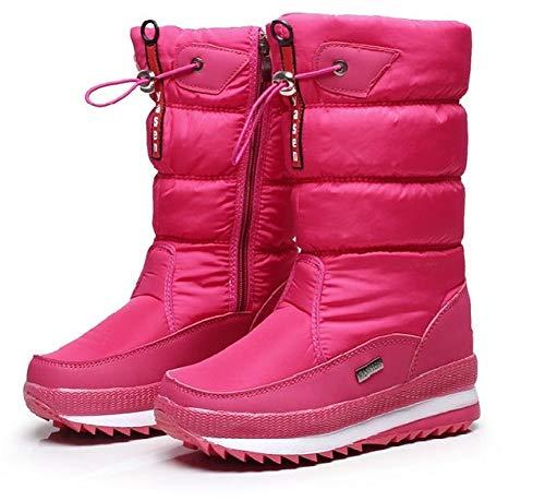 Alebaba - Botas de nieve para mujer al aire libre, informales, de felpa, gruesas, impermeables, antideslizantes, para el muslo, zapatos de invierno, color Rosa, talla 39 EU
