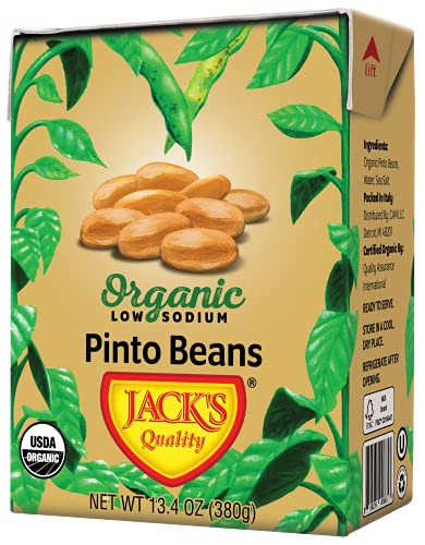 Jack's Organic Pinto Beans (8 Pack) – Packed with Protein and Fiber, Heart Healthy, Low Sodium, Non GMO, BPA Free, Ready-to-Eat, 100% Sustainable Packaging with Easy Open Tearstrip [13.4oz cartons]