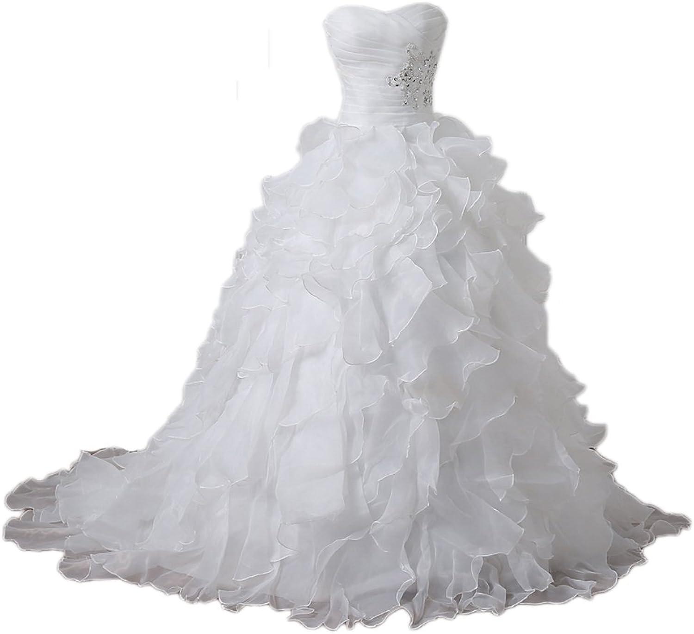 Liaoye Women's Off Shoulder Wedding Dresses Plus Size Elegant Bridal Ball Gown