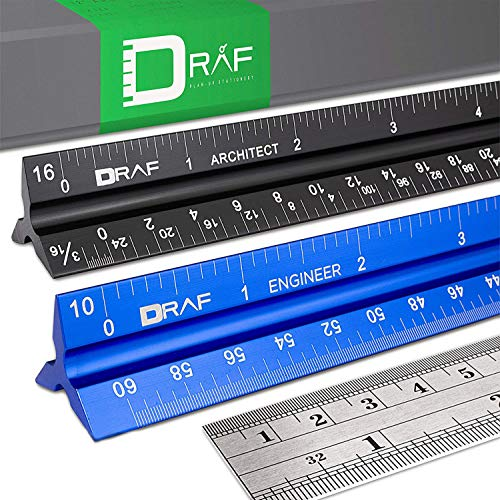 DRAF 12 Inch Architectural and Engineering Imperial Scale Ruler Set - Laser-Etched Aluminum Triangular Drafting Tool - for Architect and Civil Engineer Blueprints - Standard Metal Ruler Included