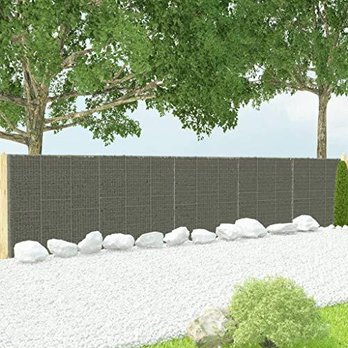 Festnight Muro de Gaviones Decorativos para Jardin con Cubiertas Acero Galvanizado 900x50x200 cm