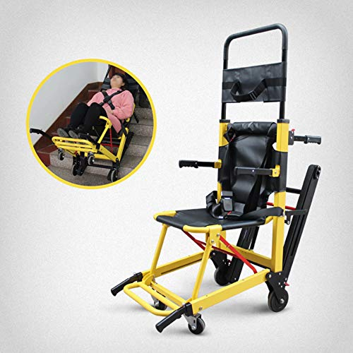 Silla de evacuación de emergencia - Silla de ruedas con riel de goma resistente al desgaste Escaleras fáciles de subir Escalones Silla ligera de evacuación de escaleras