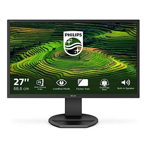 Philips 271B8QJEB Monitor 27' LED IPS FHD, 5ms, Flicker Free, Low Blue Light, HDMI, Display Port, DVI VGA, Hub USB, Audio Integrato, Ergonomia Totale, VESA, Nero