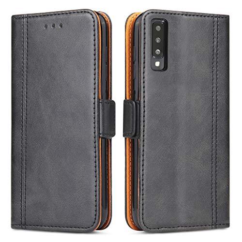 Bozon Galaxy A7 2018 Hülle, Leder Tasche Handyhülle für Samsung Galaxy A7 (2018) Schutzhülle Flip Wallet mit Ständer & Kartenfächer/Magnetverschluss (Schwarz-Grau)