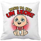 Diver Bebé Cojín con Relleno Nacido para ser un León Athletic Bilbao fútbol - Blanco, 35 x 35 cm