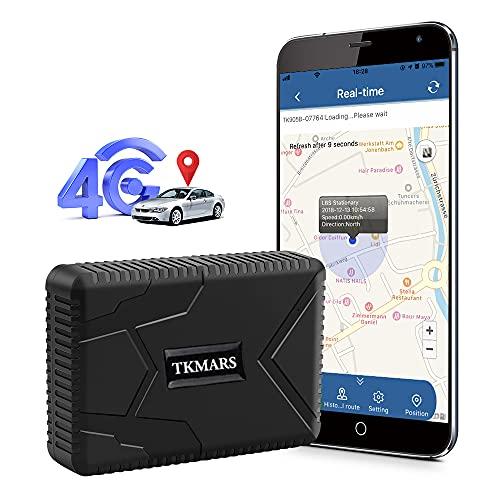 Localizador GPS para Coche,4G GPS Coche Antirrobo GPS Tracker con Imán Fuerte Oculto,Impermeable,Alarma de Caída por Vibración, para Autos Moto o Flota 7800Mah TK915