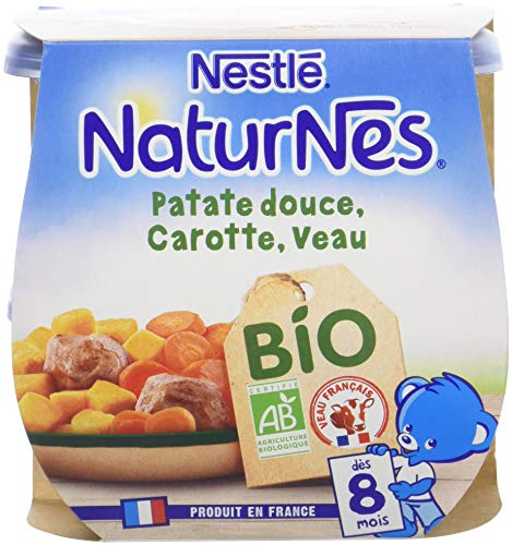 NESTLE NATURNES BIO Petits Pots Bébé Carotte Patate Douce Veau - Dès 8 mois - 2x190g - Pack de 8 ( 16 Pots )