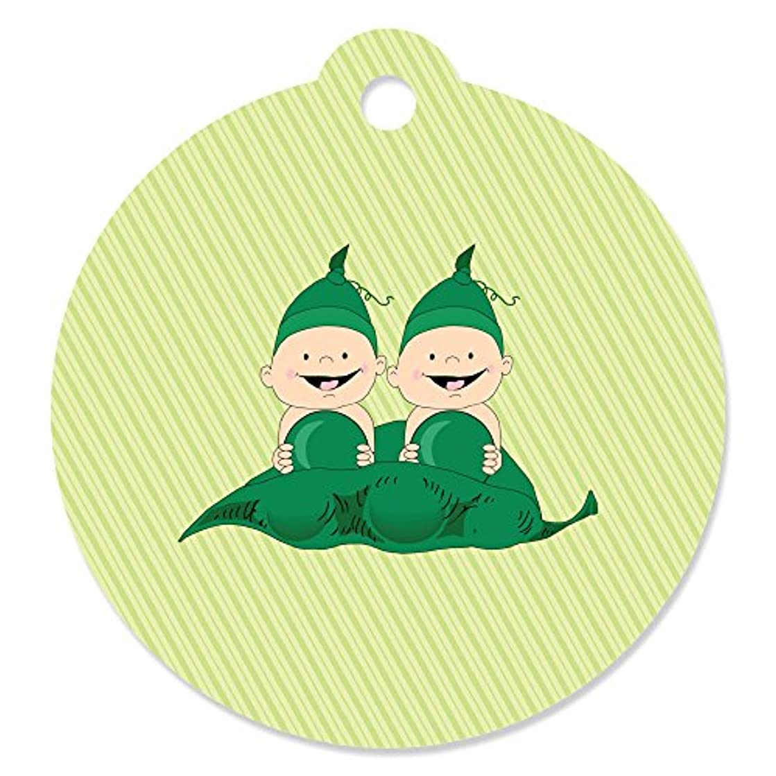 Twins Two Peas in a Pod Caucasian - Baby Shower or Birthday Party Favor Gift Tags (Set of 20)