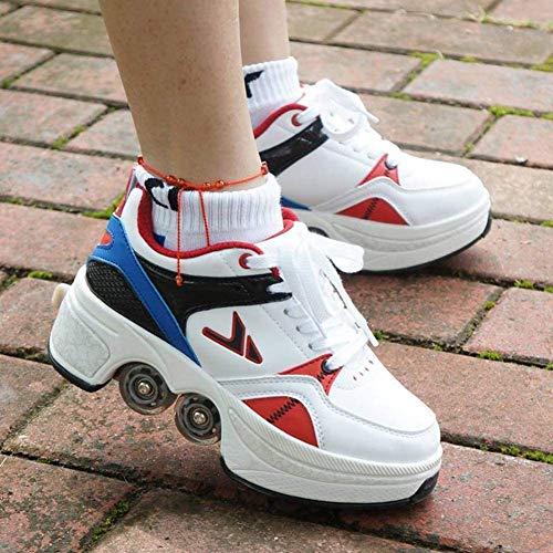 FTYUNWE Zapatos Multiusos 2 En 1 Hombres Mujeres Patines con Ruedas Deformables Zapatillas De Deporte Casuales Patines para Caminar Patinetas De Cuatro Ruedas Runaway,White-35