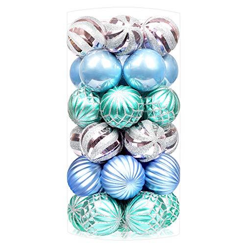 SHareconn 30pcs 2.36'Palle di Natale, Palline Infrangibili per la Decorazione Dell'albero di Natale, Ornamenti Colorati per la Decorazione della Festa di Natale, (Blu Verde, 60 mm)