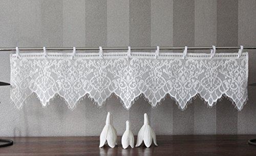 Gardine Vintage Spitze mit Baumwolle Shabby Chic weiß 20cm Hoch G026 20Hx90B cm