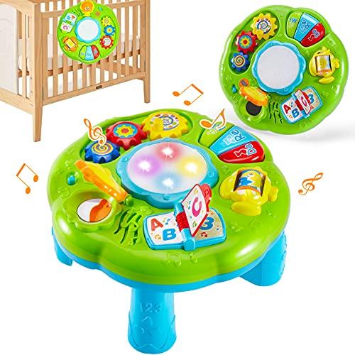 HERSITY Mesa de Actividades Tambor Juguetes Educativos Centro de Actividades Musical para Bebe 18 Meses
