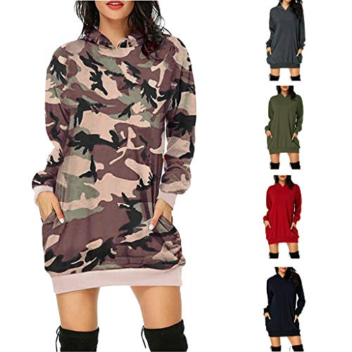 KPPONG Pullover Damen Tarnmuster Pulloverkleid Oberteile Sweatshirt Langarm Tshirt Tunika Hooded Lange Sportkleid