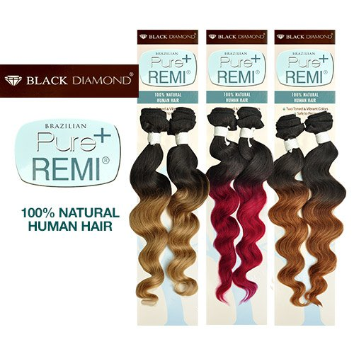 """Buy One Get One Black Diamond Brazilian Remy Human Hair Weave Pure Remi Natural Spiral Curly (Natural Wave) [22""""] (T1B/BURG)"""
