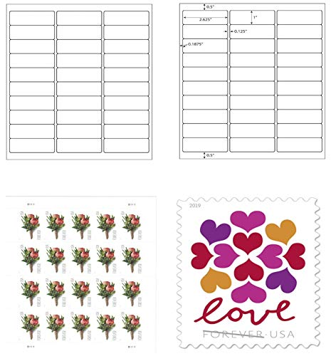 100 Forever Stamps, Roll of 100 Stamps with 100 Shipping Address Labels, Stamp Design May Vary