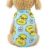 XYBB Vetement Chien Dessin animé Canard Chien Chemise Pas Cher Chien Chihuahua t-Shirt Mignon Chiot Gilet Yorkshire Terrier vêtements pour Animaux de Compagnie S1-2kg Bleu