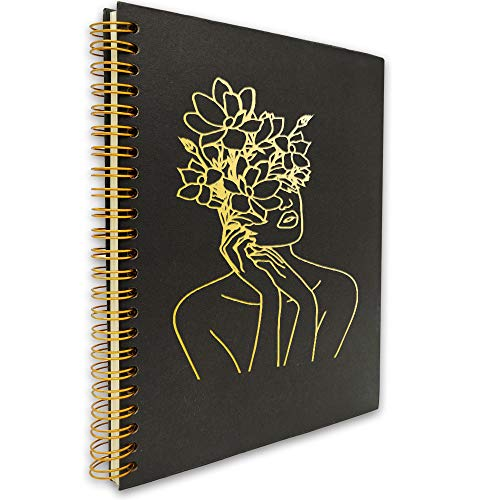akeke Women Body Flower Minimalist Line Art Hardcover Spiral Notebook/Journal, Gold Wire-o Spiral, Modern Lady Minimalist Fashion Notes Diary Book Gift for Women, Friend, Sister, Daughter