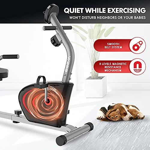 Pooboo Recumbent Exercise Bike Stationary, Magnetic Indoor Cycling Bike with Adjustable Resistance, Quiet Stable Workout Bike for Home Gym with Monitor, Phone Holder&Comfortable Seat Cushion