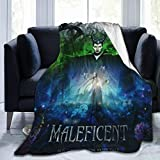 Mal-Eficent Throw Blanket Super Soft Fleece Sofa Couch Blanket TV Bed Blanket Comfy Cozy Warm Throws for Living Room Bedroom All Season,Black ,50'' x40