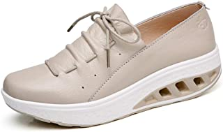 GIY Women's Slip On Platform Heel Wedge Sneakers Lace Up Walking Shoes Fashion High Heel Sneakers