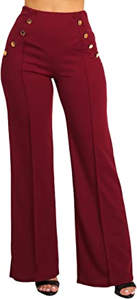b78cc51d453 Stylish Women s Junior Evening Wear High Waist Wide Legged Solid Color Pants