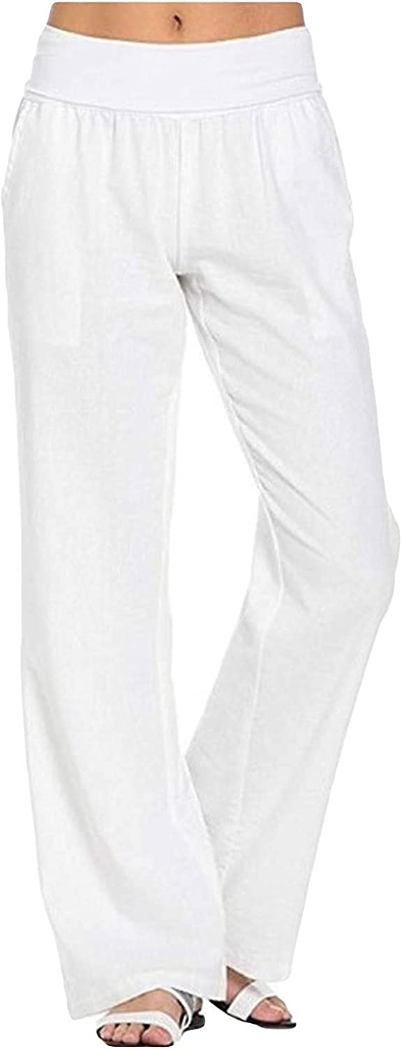 JABROCT Women's Cotton Linen Long Pants High Waist Drawstring Loose Fit Casual Trousers with Pockets