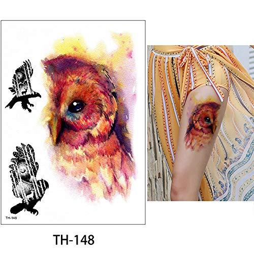 Temporär Tätowierung Schwarz Tattoo Körperkunst,Extra Temporär Tätowierung,Klebe Tattoo Sticker,Fake Arm Tattoos Aufkleber Für Männer Frauen Gemalte Eule Schwarzbär Wolf Tiger 5Pcs 14.8X21Cm Tattooau
