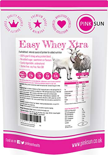 PINK SUN Goat Sheep Whey Protein Powder 1kg (or 3kg 80% Protein) Pure Unflavoured Concentrate Soy Free Gluten Free Undenatured Non GM Easy Whey Xtra 1000g