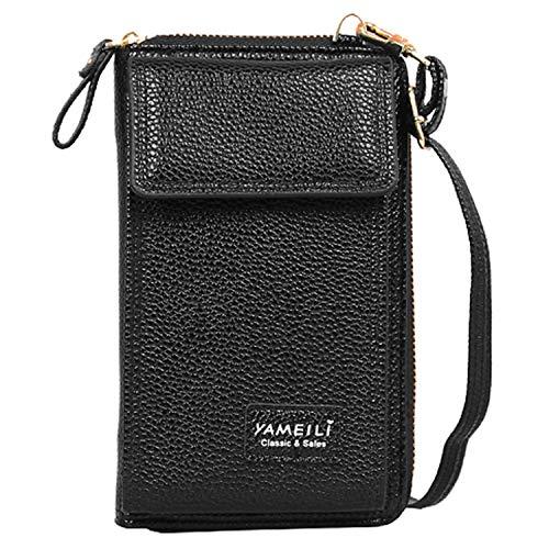 JANSBEN Donna Borsa a Tracolla per Telefono Portamonete in Pelle PU Pouch Porta Carte Borsa Crossbody Bag Cellulare Piccola (B-Beige)